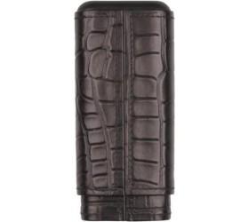 Etui piele 3 trabucuri Crocodile Design Black